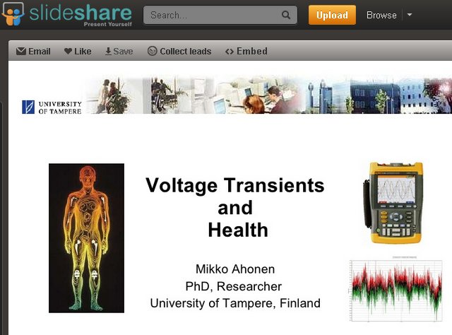 FT Mikko Ahonen, Voltage transients and health, Slideshare presentation